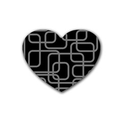 Black and gray decorative design Rubber Coaster (Heart)