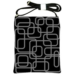 Black and gray decorative design Shoulder Sling Bags