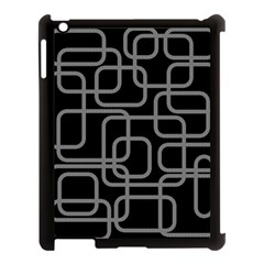 Black and gray decorative design Apple iPad 3/4 Case (Black)