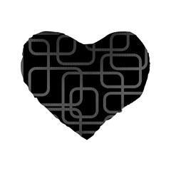 Black and gray decorative design Standard 16  Premium Heart Shape Cushions