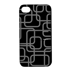 Black and gray decorative design Apple iPhone 4/4S Hardshell Case with Stand
