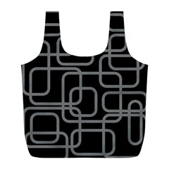 Black and gray decorative design Full Print Recycle Bags (L)