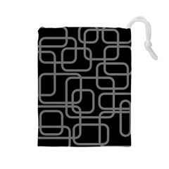 Black and gray decorative design Drawstring Pouches (Large)