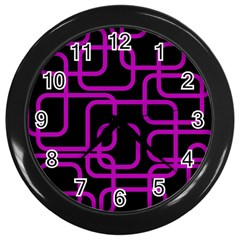 Purple and black elegant design Wall Clocks (Black)