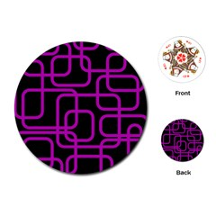 Purple and black elegant design Playing Cards (Round)