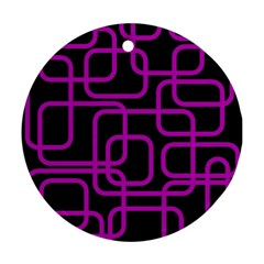 Purple and black elegant design Round Ornament (Two Sides)