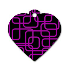 Purple and black elegant design Dog Tag Heart (Two Sides)