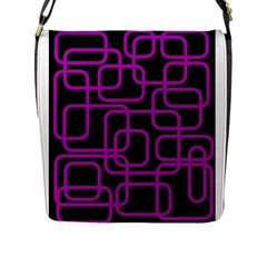 Purple and black elegant design Flap Messenger Bag (L)