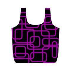 Purple and black elegant design Full Print Recycle Bags (M)