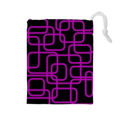 Purple and black elegant design Drawstring Pouches (Large)