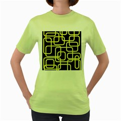 Yellow and black decorative design Women s Green T-Shirt