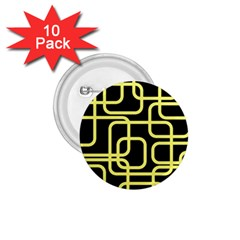 Yellow and black decorative design 1.75  Buttons (10 pack)