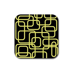 Yellow and black decorative design Rubber Square Coaster (4 pack)