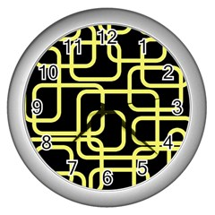Yellow and black decorative design Wall Clocks (Silver)