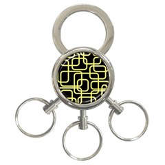 Yellow and black decorative design 3-Ring Key Chains
