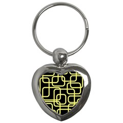 Yellow and black decorative design Key Chains (Heart)