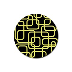Yellow and black decorative design Rubber Round Coaster (4 pack)
