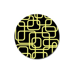 Yellow and black decorative design Magnet 3  (Round)