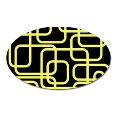 Yellow and black decorative design Oval Magnet