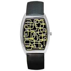 Yellow and black decorative design Barrel Style Metal Watch