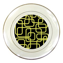 Yellow and black decorative design Porcelain Plates