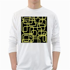 Yellow and black decorative design White Long Sleeve T-Shirts