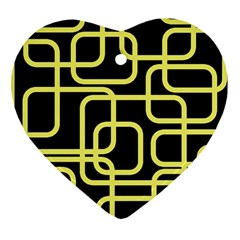 Yellow and black decorative design Heart Ornament (2 Sides)