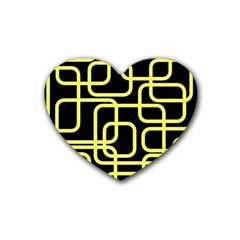 Yellow and black decorative design Heart Coaster (4 pack)