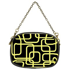 Yellow and black decorative design Chain Purses (One Side)
