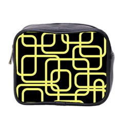 Yellow and black decorative design Mini Toiletries Bag 2-Side