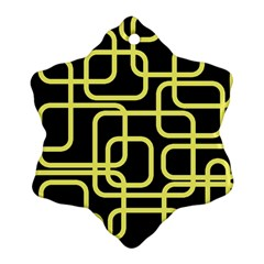 Yellow and black decorative design Snowflake Ornament (2-Side)