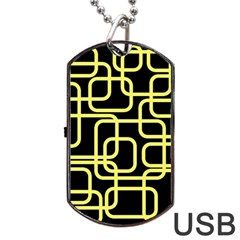 Yellow and black decorative design Dog Tag USB Flash (One Side)