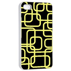 Yellow and black decorative design Apple iPhone 4/4s Seamless Case (White)