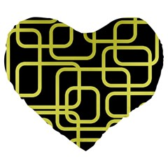 Yellow and black decorative design Large 19  Premium Heart Shape Cushions