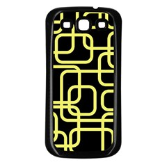 Yellow and black decorative design Samsung Galaxy S3 Back Case (Black)