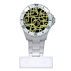 Yellow and black decorative design Plastic Nurses Watch