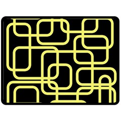 Yellow and black decorative design Double Sided Fleece Blanket (Large)