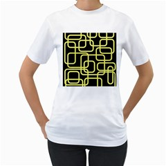 Yellow and black decorative design Women s T-Shirt (White)
