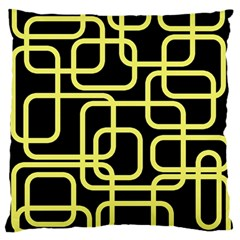 Yellow and black decorative design Large Flano Cushion Case (One Side)
