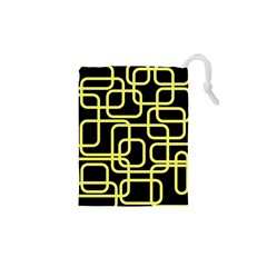 Yellow And Black Decorative Design Drawstring Pouches (xs)