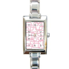 Pink elegant design Rectangle Italian Charm Watch
