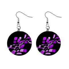 Purple decorative abstraction Mini Button Earrings