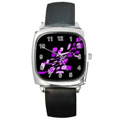Purple decorative abstraction Square Metal Watch