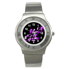 Purple decorative abstraction Stainless Steel Watch