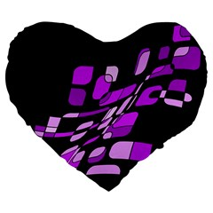 Purple decorative abstraction Large 19  Premium Heart Shape Cushions