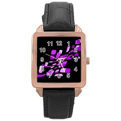 Purple decorative abstraction Rose Gold Leather Watch