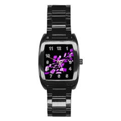 Purple decorative abstraction Stainless Steel Barrel Watch