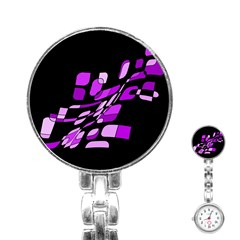 Purple decorative abstraction Stainless Steel Nurses Watch