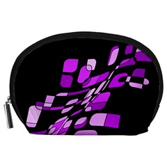 Purple decorative abstraction Accessory Pouches (Large)