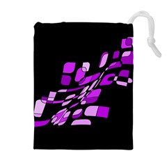 Purple decorative abstraction Drawstring Pouches (Extra Large)